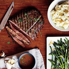 Flank Steak Recipes | Pan-Grilled Flank Steak with Soy-Mustard Sauce | CookingLight.com