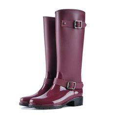 49814f25c4b COVOYYAR 2018 Women Tall Rain Boots Waterproof PVC Work Knee High Rain Boots  Flat Anti-