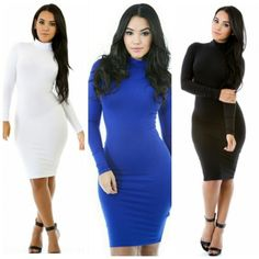 Image of Back in Stock Turtleneck  Bodycon Dress