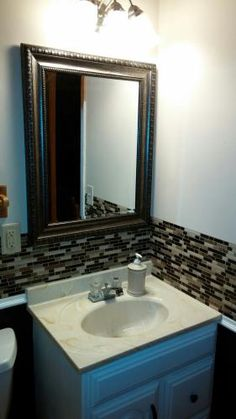 """My bathroom looked awful and outdated. I put a border of this around two walls, it took 10 sheets. The bathroom now looks designer. Small Bathroom, Bathroom Ideas, Bathrooms, Self Adhesive Wall Tiles, Smart Tiles, Home Depot, Backsplash, Farm House, Voici"
