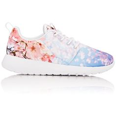 Nike Women's Roshe One Cherry-Blossom Sneakers (9360 DZD) ❤ liked on Polyvore featuring shoes, sneakers, white, nike, white low tops, white lace up shoes, white shoes and waffle trainer
