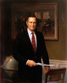 Official White House Portrait of George Herbert Walker Bush ~ 41st President of the United States. (Term: 1989-1993).  He was the leader of a multi-national coalition during Operation Desert Storm to liberate Kuwait from Saddam Hussein.