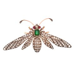 Victorian French FONTANA Emerald Diamond Wasp Pin | From a unique collection of vintage brooches at https://www.1stdibs.com/jewelry/brooches/brooches/