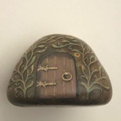 Fairy House rock painting OOAK paperweight gift by SylverWoode