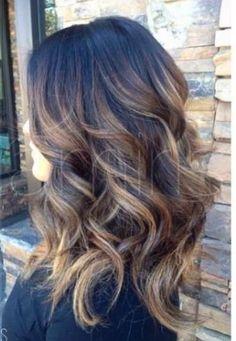 Resultado de imagem para light brown balayage on dark hair
