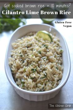 Copycat Chipotle restaurant Cilantro Lime Brown Rice - excellent way to keep brown rice exciting and healthy! thekitchengirl.com