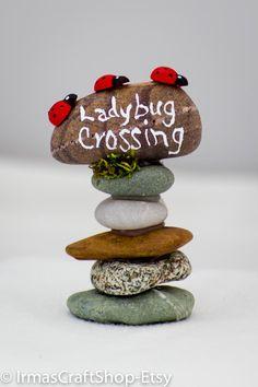 Ladybug Crossing Rock Sign Fairy Garden Sign by IrmasCraftShop