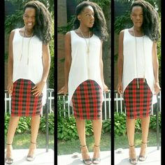 High/Low Tank & Tartan Pencil Skirt