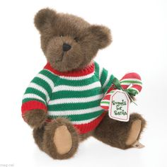 "Boyds Bear Plush   ""Junior Candykins ""  Christmas   2013  Candy Cane"