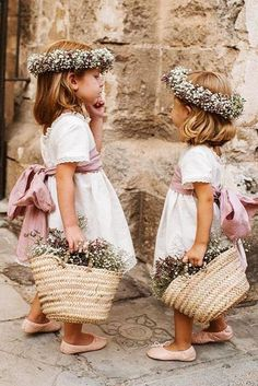 30 Flower Girl Photos To Brighten Your Day is part of Wedding - These flower girl photos are sure to put a smile on your face, sporting all the top looks from sweet to boho to haute couture! Flower Girl Dresses Country, Flower Girl Photos, Flower Dresses, Flower Girl Outfits, Rustic Flower Girls, Boy Outfits, Wedding Dresses For Kids, Pretty Wedding Dresses, Wedding With Kids