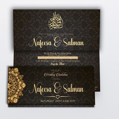 Muslim wedding invitation with black damask pattern.