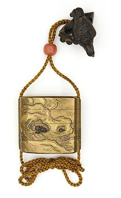 Hara Yoyusai (Japan, 1772 - 1845)   Inro, Ojime, Netsuke, 18th-early 19th century  Costume/clothing accessory/waistwear, Inro: lacquer on substrate, sprinkled gold flecks, metal inlays; Ojime: coral; Netsuke: wood with horn and ivory inlays,