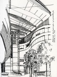 Victoria Atrium Building (or BC Ferries office building) interior sketch. The interior atrium space turned out well. The flowing curves and warm slatted wooden panels on the walls are crisp and appealing. There are a series of quirky timber trusses s Croquis Architecture, Architecture Exam, Japanese Architecture, Interior Architecture, Bamboo Architecture, Atrium Design, Conceptual Drawing, Building Sketch, Interior Sketch