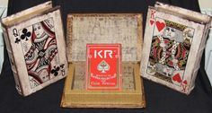 Playing Cards Deck In Vtg/Retro Style Book Gift Box Poker/Magic Tricks/Blackjack
