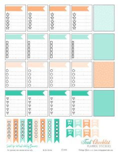 Teal & Cantaloupe Checklist Stickers   Free Printable Download of Planner Stickers suitable for Erin Condren and other Vertical Weekly Planners.