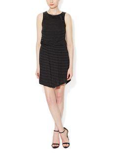 Striped Faux Leather Yoke Dress