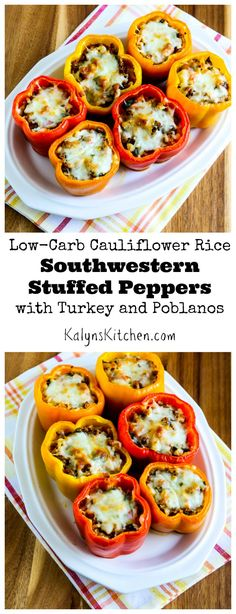 Peppers are extra good in summer and fall, and these Low-Carb Cauliflower Rice Southwestern Stuffed Peppers with Turkey and Poblanos are delicious for a healthy family meal! [from KalynsKitchen.com] #LowCarb #SouthBeachDiet