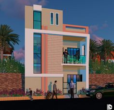 House Front Wall Design, Duplex House Design, Modern House Design, Building Elevation, House Elevation, Ibrahim Khan, Front Elevation Designs, Independent House, Simple House Plans