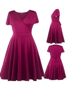 fa84f5ad928 Fashion Women Big Plus Size Dress Sexy Ladies V-neck Burgundy Bubble Skirt  XL XXL 3XL 4XL 5XL Size12 16 18 20 22 - Walmart.com