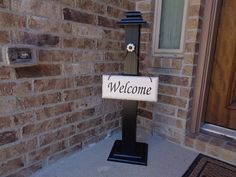 RUSTIC WELCOME POST 7 Welcome Sign Included Wooden by LLDMDesigns