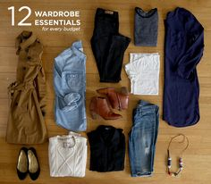 12 Wardrobe Essentials for Every Budget-the woman who wrote the article just had a baby however her thoughts on the wardrobe work for any woman at any stage in life.