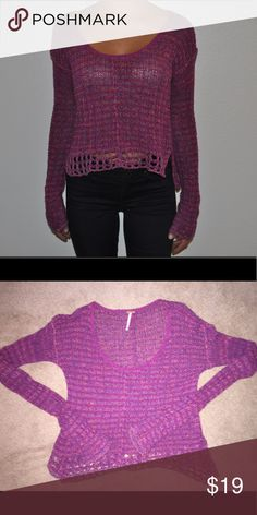 Pink and Purple Crocheted Sweater Free People pink and purple crocheted sweater, lightweight, comfortable, great condition, practically new condition Free People Sweaters Crew & Scoop Necks