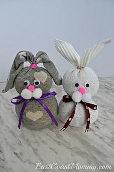 East Coast Mommy: No-sew Sock Bunnies Sock Crafts, Bunny Crafts, Crafts To Do, Easter Art, Easter Crafts For Kids, Easter Bunny, Easter Decor, Easter Eggs, Spring Crafts