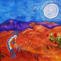 Title  Kokopelli Playing To The Moon Square   Artist  Ellen Levinson   Medium  Painting - Digital Art/ Digitally Enhanced Watercolor @ellenlevinson