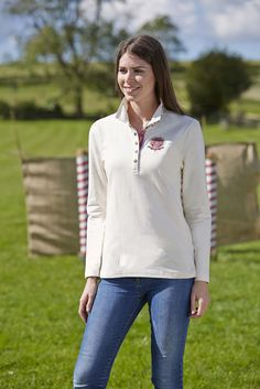 NEW from Toggi's SS15 collection, our lovely model wears the Lacey rugby shirt in Vanilla colour. See more colours and styles from the NEW collection at www.Toggi.com
