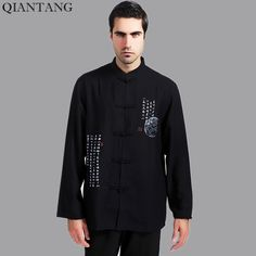 Black Traditional Chinese style Men's Kung Fu Shirt Summer Hombres Camisa Clothing Size S M L XL XXL Mny-04D #Affiliate