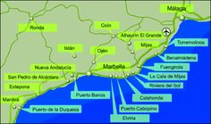 Costa Del Sol Map Coast | Costa del Sol Map Andalusia Spain, Andalucia, Benalmadena, Tourist Information, Map, Travel, Holidays, Future, Blog