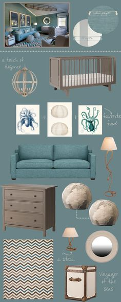 A little too grown up for now, but we're definitely going with the natural colors and some of these shades of blue :) Nautical Nursery Inspiration
