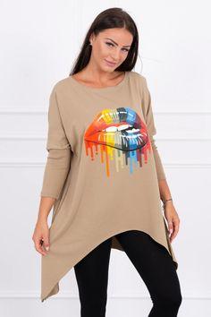 Moderná a štýlová tunika oversize s potlačou úsť Rainbow Lips, Oversized Blouse, Chambray, Modeling, Oxford, Graphic Sweatshirt, Sweatshirts, Sweaters, How To Wear