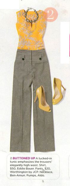 Sophisticated + fresh, cute slacks, yellow - I would add a cardigan... sleeveless seems less professional #work apparel #workclothes #classy #sophisticated
