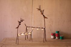 iron reindeer with tealight cups