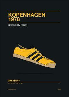 Adidas Kopenhagen poster celebrating the 1978 Kopenhagen release Adidas Og, Adidas Retro, Vintage Adidas, Adidas Sneakers, Adidas Classic Shoes, Shoe Poster, Shoes Wallpaper, Adidas Spezial, Football Casuals