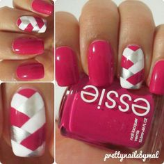 OMG- so so so in love with these nails: more then you'll ever know!!  I wanna do this on 'em all, and leave my ring finger plain pink- possible with LARGE silver glitter dots over the top.