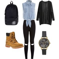 school outfit #3 by paty-porutiu on Polyvore featuring polyvore fashion style Timberland Converse Olivia Burton