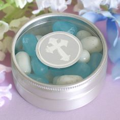 communion favor idea....with blue and white m&ms...;.
