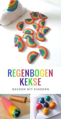 Regenbogen Kekse Rezept: Idee für die Einhorn Regenbogen Party Rainbow biscuit recipe (not only for unicorn fans): The colorful rainbow biscuits make something really optical! The ideal pastry for the children's birthday or the. Hair Rainbow, Rainbow Food, Cupcake Rainbow, Rainbow Unicorn, Baby Food Recipes, Cookie Recipes, Almond Cream, Rainbow Painting, Apple Smoothies