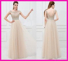 Free shipping, $106.93/Piece:buy wholesale Vestido Champagne Crystal V Back Cap Sleeve Long Tulle Girl Graduation Modest Prom Dresses E5199 from DHgate.com,get worldwide delivery and buyer protection service.