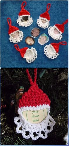 Crochet Santa Frame Ornament Free Pattern - Crochet Santa Clause Free Patterns