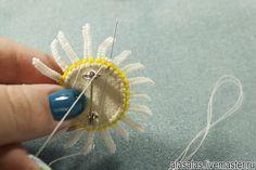 Делаем брошку-ромашку из бисера - Ярмарка Мастеров - ручная работа, handmade