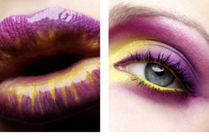 Fushia and yellow eyeshadow and lipstick combination. Yellow Makeup, Yellow Eyeshadow, Purple Lipstick, Makeup Art, Lip Makeup, Beauty Makeup, Makeup Pics, Gold Makeup, Beauty Box