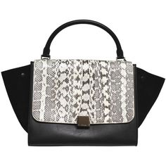 Pre-Owned Celine 2013 Runway Black Natural Tricolor Exotic Whipsnake Leather Suede Small Trapeze Bag