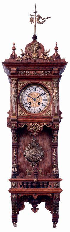 Grand Scale Flora Sculptural Swinging Pendulum Clock In