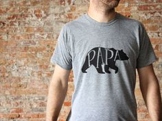Papa Bear The perfect gift for Fathers Day!  Featured against the dark silhouette of a bear, this unique typographic design was hand-lettered