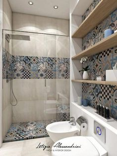 Modern Bathroom: Interior Design, Ideas and Photos l homify - Studio in Milan: Modern style bathroom by Letizia Alessandrini – Yacht & Interior Design - Simple Bathroom Designs, Modern Bathroom, Small Bathroom, Bathroom Ideas, Master Bathroom, Bathroom Stuff, Morrocan Bathroom, Spanish Bathroom, Italian Bathroom