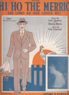 Hi Ho the Merrio (As Long As She Loves Me) 1926 Sheet Music Lew Brown Benny Davi
