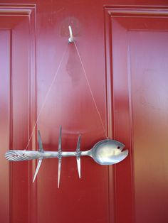 Spoon BONE Fish Wall Hanging  recycled by creationsbyingrid1